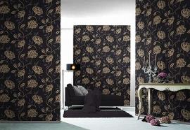 zwart goud bloemen behang 211252