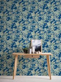 Bloemen behang blauw 34077-1
