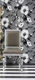 zwart grijs zilver modern bloemen behang 02