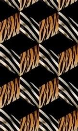 2-509 Komar Fotobehang OpArt blokjes dierenprint zwart wit oranje behang