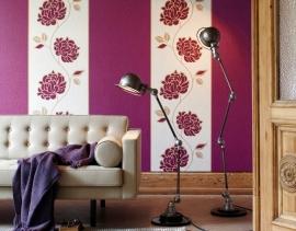 modern bloemen behang paars creme 85