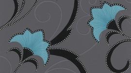 blauw zwart glitter bloemen behang Erismann 9727-18
