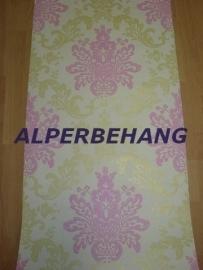 barok vlies behang roze creme goud parelmoer 410