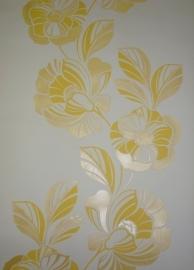 bloemen behang geel wit vlies 395