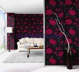 roze zwart bloemen behang 184