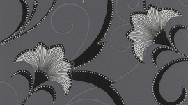 zwart zilver glitter bloemen behang Erismann 9727-15