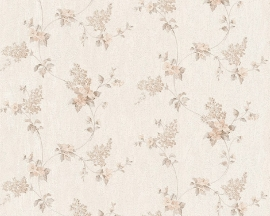 Bloemen behang wit beige AS Création Villa Rosso satijnen behang 95928-2