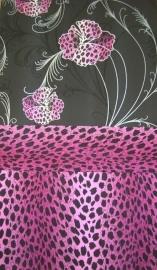 behang zwart roze luipaardprint bloemen 492