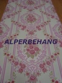 Bloemen  behang roze wit x381