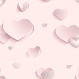 Meisjes behang hartjes 3D Pink Hearts J92603