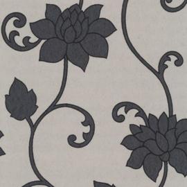 bloemen behang grijs xxxt71