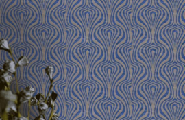 Retro behang blauw 546019