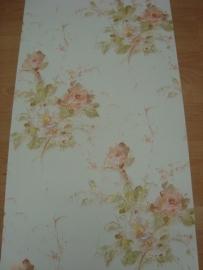 bloemen behang groen wit 75