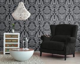 barok behang zwart zilver rasch tapete xx52