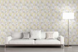 Geel grijs retro behang as creation 35181-1