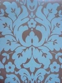barok behang vinyl bruin blauw 100