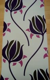 creme paars tulp op vlies behang 43036