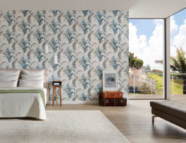 Blauw tropical behang 30456-1