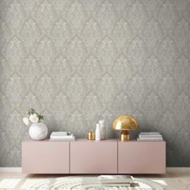 Grijs wit barok behang 37681-4