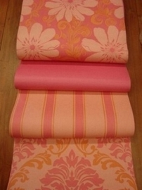barok behang zalm roze  14