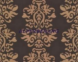 bruin goud retro barok veloers vlies behang 113