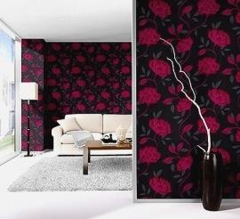 roze zwart zilver bloemen behang 15
