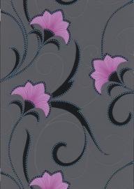 roze zwart glitter bloemen behang Erismann 9727-05