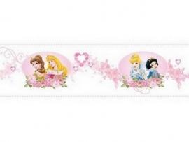 roze wit bloemen hartjes prinsessen behangrand 31