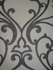 rasch glamour glitter zilver wit behang 082