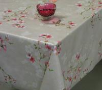 Roze bloemen vogel tafelzeil 7465