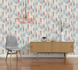 Hout behang blauw rood 33089-1