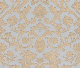 Blauw goude barok damask behang Vintage 3905