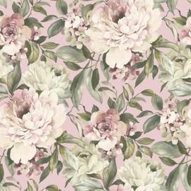 Rose bloemen behang  glitter xx25