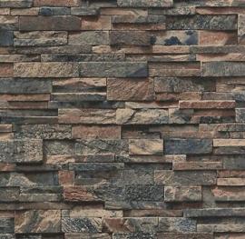 steen behang blauw bruin 3d xx94
