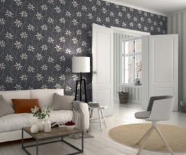 grijs wit bloemen behang rasch 897708