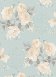 Bloemen behang blauw 6359-18