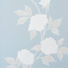 Blauw wit bloemen  behang metalic 47264