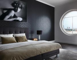 zwart retro behang metalic grafisch 93937-1
