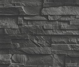 438307 zwart natuursteen steen behang rasch factory 3d