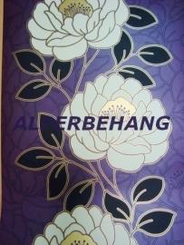 modern bloemen behang paars wit zwart xx560