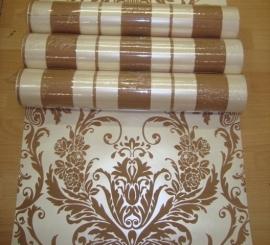 barok behang vinyl bruin creme x10