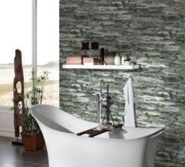 Steen behang grijs zwart natuur groen 36492-1