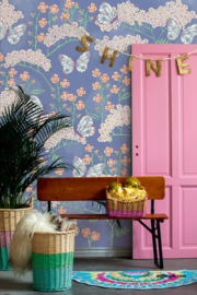 Eijffinger Rice 2 Wallpower 383620 Butterflies and Flowers Blue