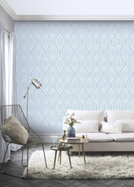 Retro behang blauw arthouse 908209