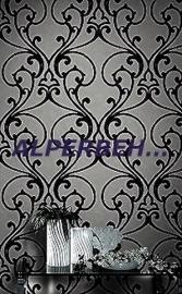 retro vlies zilver zwart behang 267