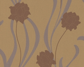as creation mila 938672 beige bruin creme modern bloemen behang