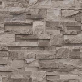 steen behang vlies 3d bruin taupe xx141