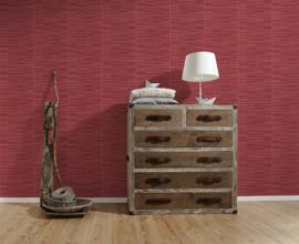 Rood behang steen motief 3d voelbaar relief 952573