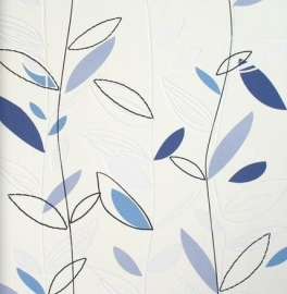 BN Wallcoverings Twist 47114 creme blauw bloemen behang