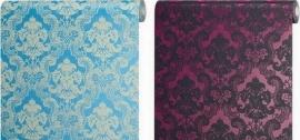 barok behang vinyl blauw wit roze zwart 107